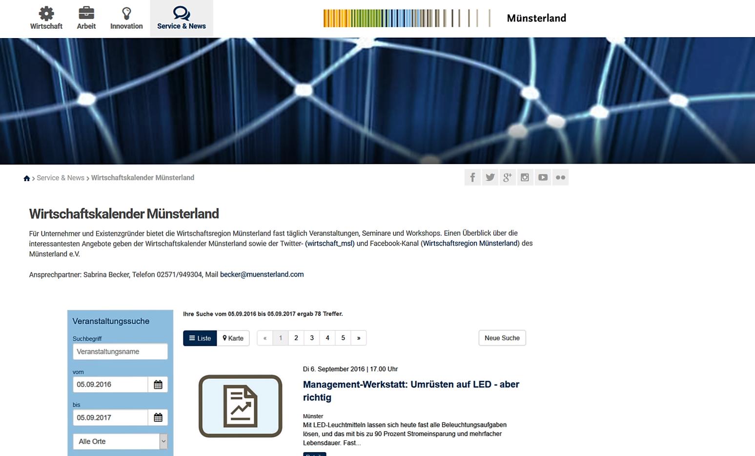 Wirtschaftskalender Münsterland bündelt Veranstaltungen für Unternehmen und Existenzgründer