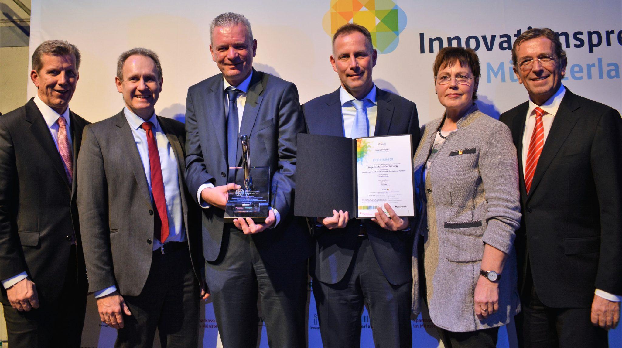 """Klinkerwerk Hagemeister GmbH & Co. KG gewinnt mit Forschungsprodukt """"Energieklinker"""" Innovationspreis Münsterland 2017"""